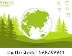 globe and trees on the green... | Shutterstock .eps vector #568769941