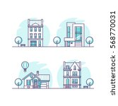 set of urban and suburban... | Shutterstock .eps vector #568770031