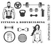 set of fitness   bodybuilding... | Shutterstock .eps vector #568773919