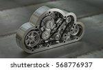 concept. steel cloud engine of... | Shutterstock . vector #568776937