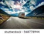 Caravan Car Travels On The...