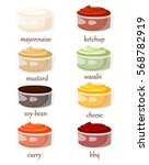 set of different sauces ceramic ... | Shutterstock .eps vector #568782919