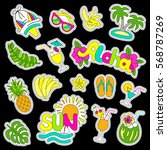 hawaiian patch set. fashionable ... | Shutterstock .eps vector #568787269
