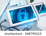 white tablet pc and access... | Shutterstock . vector #568790215