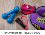 fitness gym equipment. sneakers ... | Shutterstock . vector #568791409
