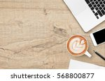 wood office desk table with... | Shutterstock . vector #568800877