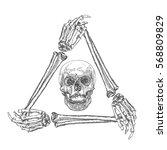skull in the frame made of... | Shutterstock .eps vector #568809829