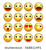 vector cartoon smiley face set... | Shutterstock .eps vector #568811491