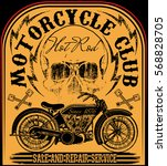 vintage motorcycle hand drawn... | Shutterstock . vector #568828705