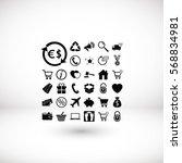 shopping icons vector  flat... | Shutterstock .eps vector #568834981