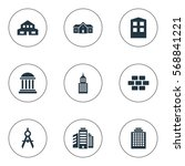 set of 9 simple structure icons.... | Shutterstock .eps vector #568841221