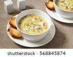 chicken and potato chowder soup ... | Shutterstock . vector #568845874
