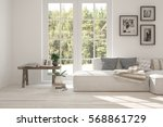 white room with sofa and green... | Shutterstock . vector #568861729
