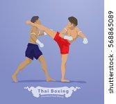 thai martial arts thai boxing... | Shutterstock .eps vector #568865089