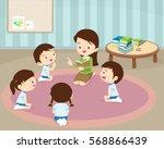 teacher and kids  children... | Shutterstock .eps vector #568866439