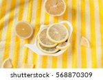 sliced lemon on a plate shaped