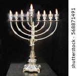 silver chanukah menorah with... | Shutterstock . vector #568871491