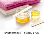 wax for depilation on white... | Shutterstock . vector #568871731