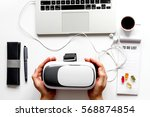 virtual reality glasses on mans ... | Shutterstock . vector #568874854