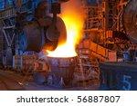 pouring of liquid metal in open ... | Shutterstock . vector #56887807