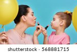 funny family on a background of ... | Shutterstock . vector #568881715