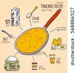 russian pancakes hand drawn... | Shutterstock .eps vector #568886527