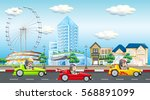 scene with kids riding race car ... | Shutterstock .eps vector #568891099