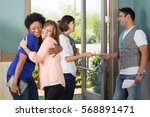 friendly people greeting each... | Shutterstock . vector #568891471