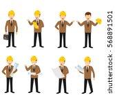 set of engineer character... | Shutterstock .eps vector #568891501