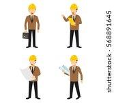 set of engineer character...   Shutterstock .eps vector #568891645