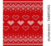 knitted pattern with hearts.... | Shutterstock .eps vector #568892401