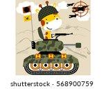 giraffe fighting with tanks on...   Shutterstock .eps vector #568900759