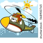 bear riding a helicopter flying ... | Shutterstock .eps vector #568900765