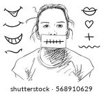 girl covering her mouth with... | Shutterstock .eps vector #568910629