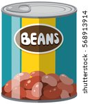 beans in aluminum can... | Shutterstock .eps vector #568913914