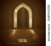 islamic design mosque door for... | Shutterstock .eps vector #568914205