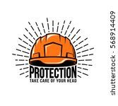 retro logo with builder helmet  ... | Shutterstock .eps vector #568914409