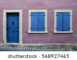 Blue Old Wooden Door And Two...