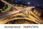 elevated highway and overpass... | Shutterstock . vector #568947691