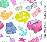 seamless pattern travel... | Shutterstock .eps vector #568957801