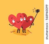 two happy hearts making selfie... | Shutterstock .eps vector #568960099