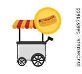 hot dog fast food icon image... | Shutterstock .eps vector #568971805