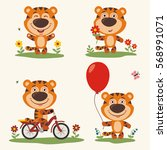 vector set funny tiger plays on ... | Shutterstock .eps vector #568991071