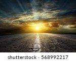 asphalt road between fields ...   Shutterstock . vector #568992217