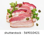 smoked bacon with parsley and... | Shutterstock . vector #569010421