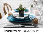 table served with succulents... | Shutterstock . vector #569010949