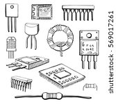 Set Of Electronic Components ...