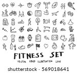 doodle sketch fitness icons... | Shutterstock .eps vector #569018641