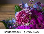 beautiful bouquet in violet... | Shutterstock . vector #569027629