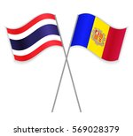thai and andorran crossed flags.... | Shutterstock .eps vector #569028379